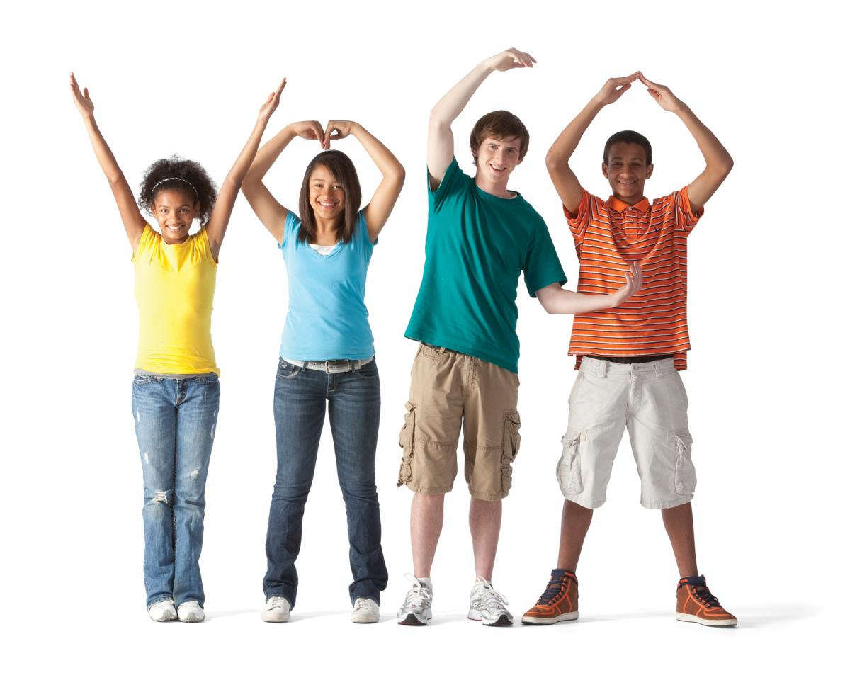 "Teenagers forming ""YMCA."""