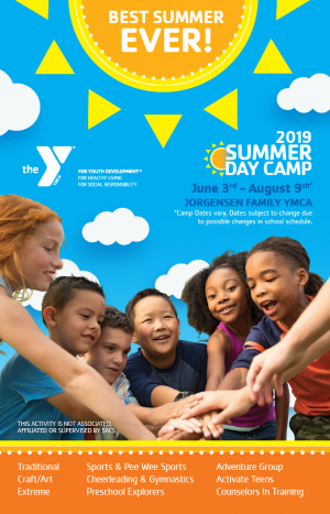 Jorgensen Family YMCA Summer Day Camp Brochure cover.