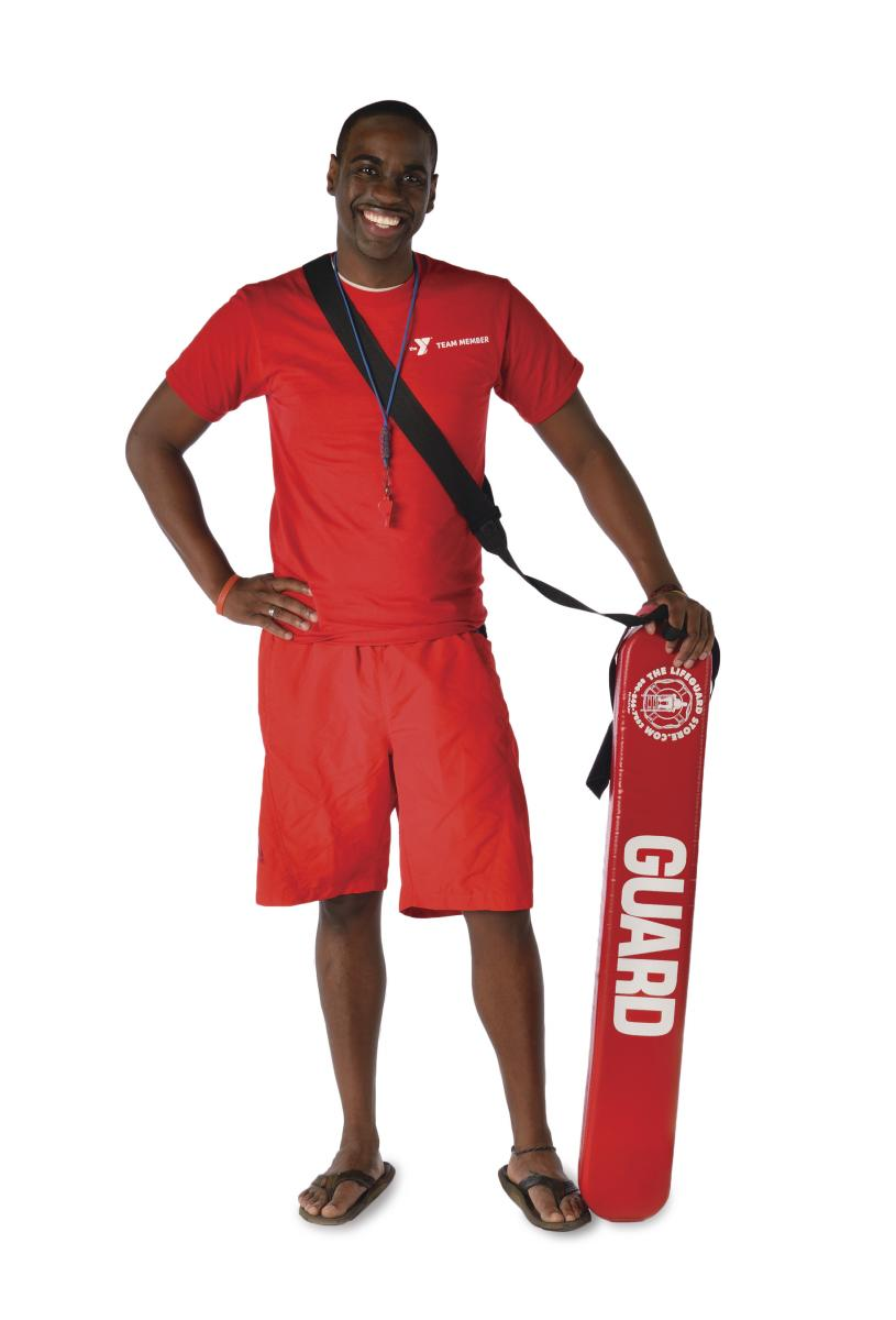 Adult male lifeguard with lifeguard float.